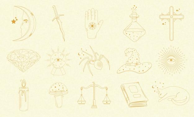 Collezione di oggetti mistici e astrologici, gatto, libro, candela, spada, palla magica, sole, ragno e altri, mani umane.