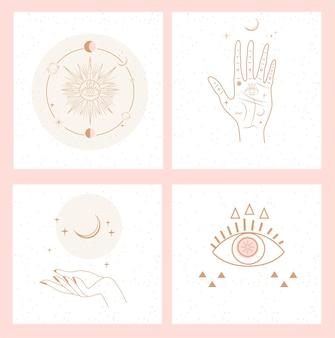 Raccolta di mistico e misterioso per i social media. concetto di spazio e astrologia.