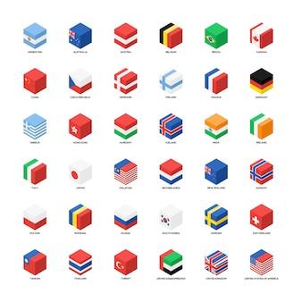 Raccolta di progettazione piana dell'icona isometrica delle bandiere nazionali isolata su fondo bianco