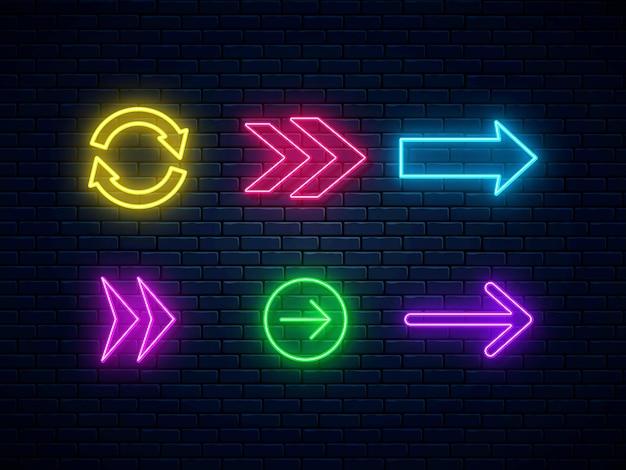 Raccolta di segni di freccia al neon