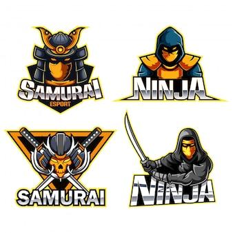 Collezione di illustrazione logo ninja e samurai