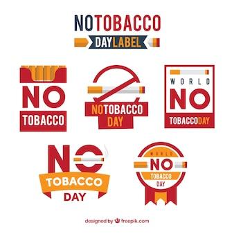 Raccolta di adesivi nessun giorno di tabacco