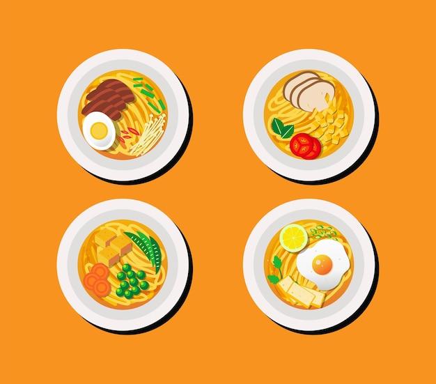 Raccolta di illustrazione di noodles in vista dall'alto con diversi condimenti Vettore Premium