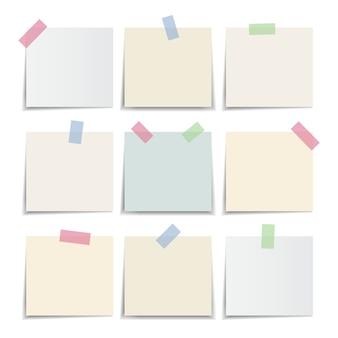 Collezione di carta per appunti, colori pastello nota adesiva. illustrazione