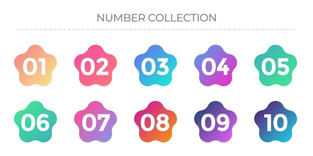 Raccolta di numeri da 1 a 10. icone con colori sfumati.