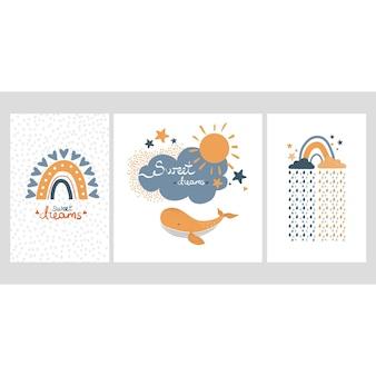 Collezione di poster per la scuola materna nuvole piovose blu e gialle disegnate a mano balena e testo sogni d'oro