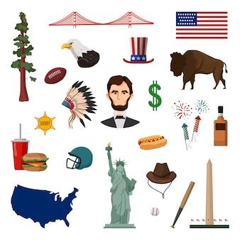 Collezione di oggetti d'america