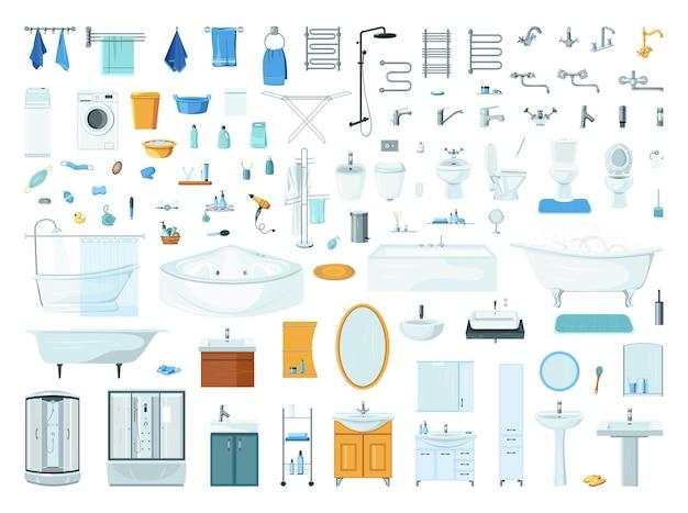 Collezione di oggetti per l'arredo bagno