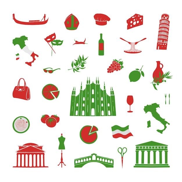 Una collezione di oggetti legati all'italia. illustrazione vettoriale di monumenti italiani.