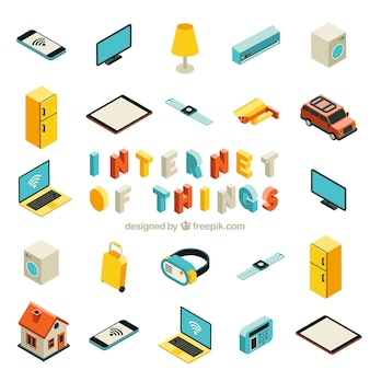 Raccolta di oggetti con internet isometrico