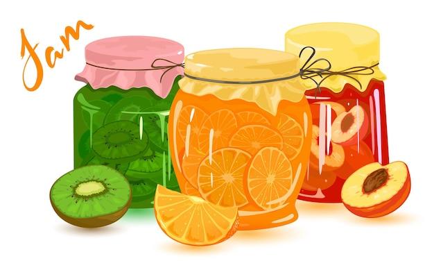 Raccolta di confetture in scatola di arance, pesche, kiwi e albicocche