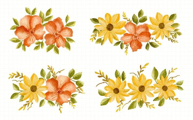 Raccolta dell'illustrazione dell'acquerello di disposizione della decorazione del fiore arancione e giallo