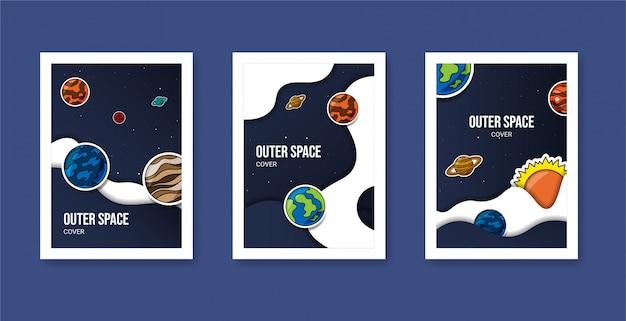 Collezione di poster di copertina del pianeta dello spazio cosmico