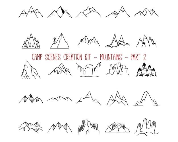 Collezione di emblemi di montagna di contorno. parte 2