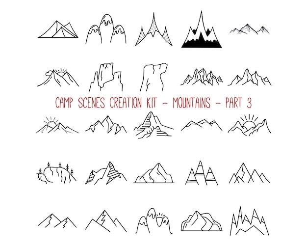 Collezione di emblemi di montagna di contorno. parte 3