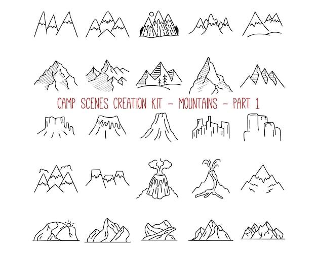 Collezione di emblemi di montagna di contorno