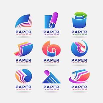 Collezione di design del logo di carta