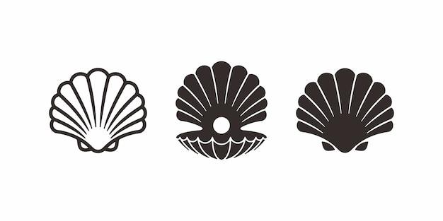 Collezione di design pearl shell logo o icona.
