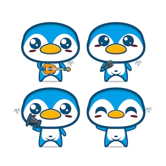 Collezione di set di pinguini che tengono strumenti musicali illustrazione vettoriale in stile piatto cartoon