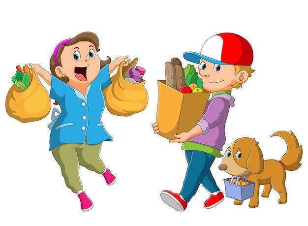 La raccolta delle persone mostra i generi alimentari dal mercato dell'illustrazione