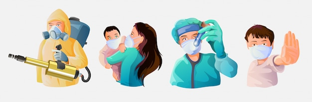 Una raccolta di persone durante l'epidemia. un dottore in una benda medica, un bambino con un gesto di arresto, una giovane madre con un bambino in bende, un uomo disinfettante in una tuta chimica Vettore Premium
