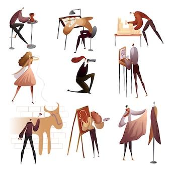 Raccolta di persone che si godono i loro hobby. illustrazione.