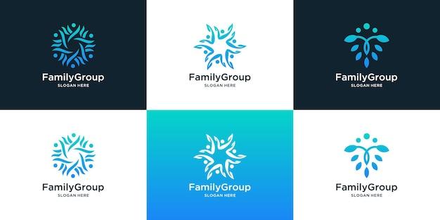 Raccolta di design del logo della famiglia e della comunità di persone per il gruppo sociale e l'assistenza familiare.
