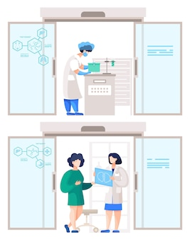 Raccolta di persone che lavorano in laboratorio.
