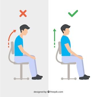 Raccolta di persone sedute correttamente e in modo errato