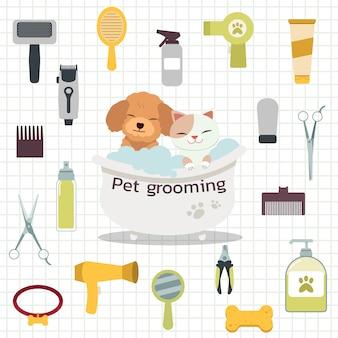 La collezione di strumenti per toelettatura animali domestici con barboncino e simpatico gatto nella vasca da bagno con stile piatto.