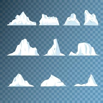 Collezione di pezzi e cristalli, iceberg per game design e arredamento, blocco ghiacciato freddo, scogliera ghiacciata. montagna di ghiaccio, grande pezzo di ghiaccio blu d'acqua dolce in acque libere. illustrazione vettoriale, eps 10.
