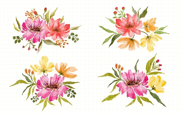 Collezione di illustrazione ad acquerello dipinta a mano di disposizione della decorazione floreale rosa e gialla