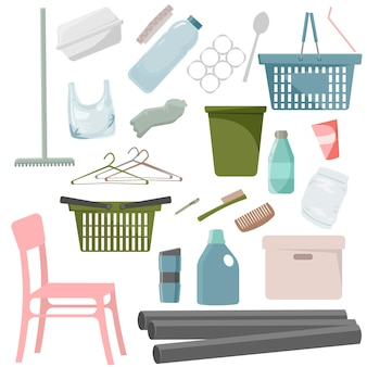 Raccolta di rifiuti di plastica su sfondo bianco. bottiglie di plastica, sacchetti, contenitori e altri rifiuti. prodotti in plastica riciclata. illustrazione di vettore dei rifiuti di plastica riciclabile.