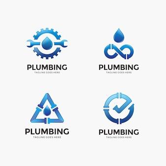 Raccolta di plumbing, modello di progettazione di logo di acqua.