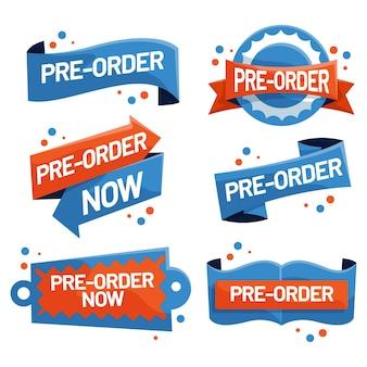 Collezione di etichette pre-ordine in blu e arancione