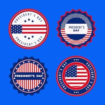 Collezione di badge per eventi del giorno del presidente