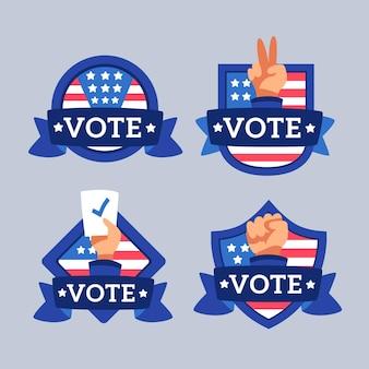 Raccolta di badge di voto presidenziale