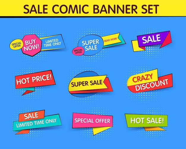 Raccolta di banner promozionali in vendita e sconti in stile pop art.