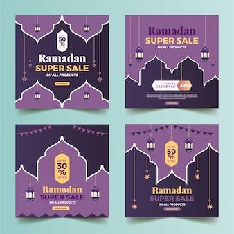 Collezione ramadan super vendita social media post modello banner pubblicitari.
