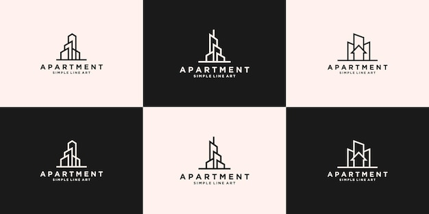 Collezione di disegni di logo per grattacieli di appartamenti immobiliari