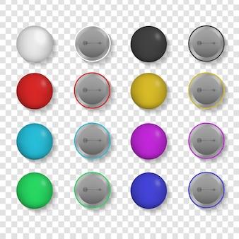 Raccolta di badge realistici sullo sfondo trasparente.