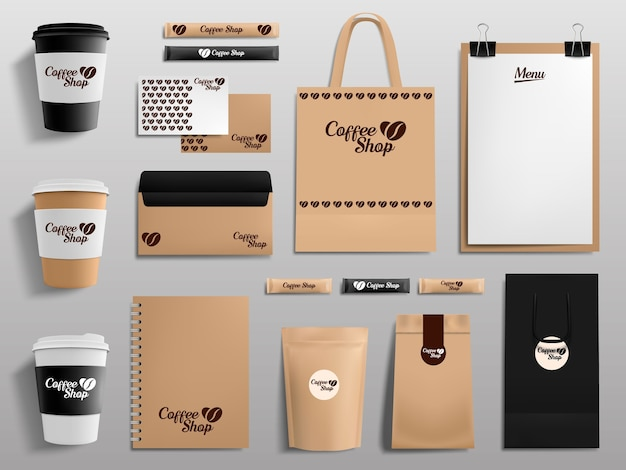 Raccolta di mockup realistici di caffetteria