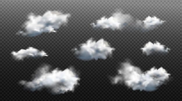 Raccolta di nuvole diverse realistiche