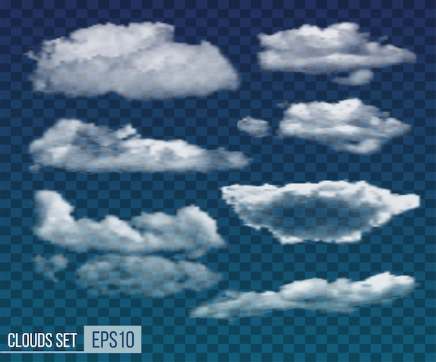 Raccolta di nuvole notturne trasparenti realistiche. illustrazione vettoriale eps10