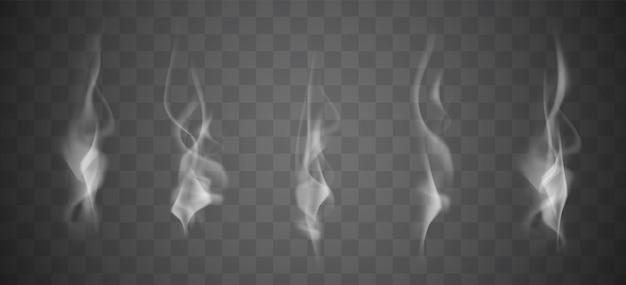 Raccolta di vapore fumo bianco realistico, onde da caffè, tè, sigarette, cibo caldo isolato su sfondo trasparente. illustrazione vettoriale