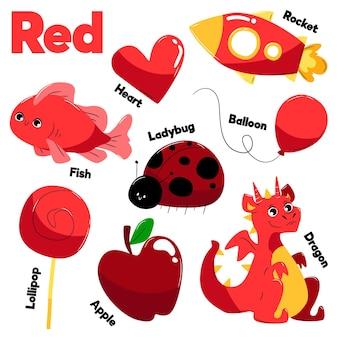 Raccolta di oggetti rossi e parole del vocabolario in inglese