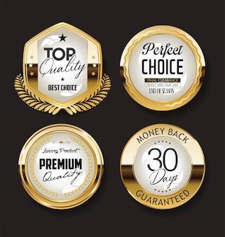 Collezione di badge oro e nero retrò e design di etichette