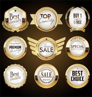 Collezione di badge retrò in oro e nero e design di etichette