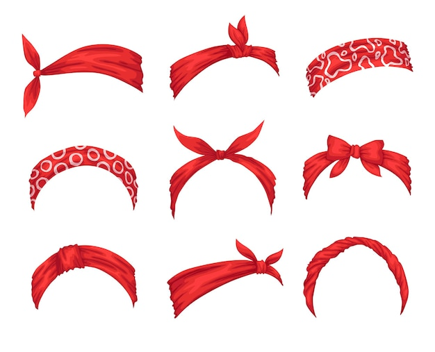 Collezione di fasce retrò per donna. mockup di nodi decorativi per capelli. condimento per capelli ventoso bandana rossa. fazzoletto legato per acconciature.