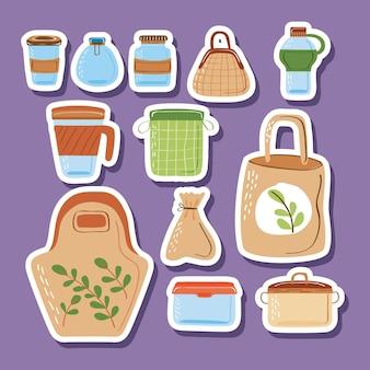 Collezione di icone di contenitori riutilizzabili